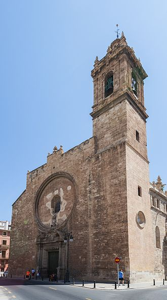 Santos Juanes, Valencia - The church from the corner of Carniceros street.