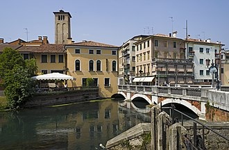 Treviso - A bridge on the Sile river in Treviso.