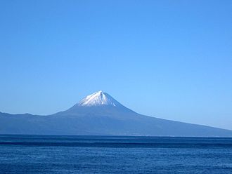 Azores - Perspective of Mount Pico, the highest mountain/summit in the Azores and Portugal, as seen from the island of São Jorge.