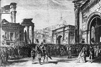 Illustration of the last scene of Act3 of 'Rienzi' by Wagner at the Théâtre Lyrique 1869 - Bauer 1983p31.jpg