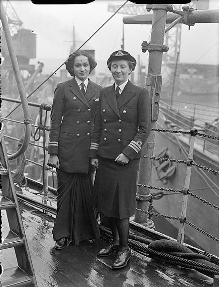 Second Officer Kalyan Sen and Chief Officer Margaret L Cooper, Women's Royal Indian Naval Service, 1945 Indian Wrens Visit Rosyth, 3 June 1945 A29070.jpg