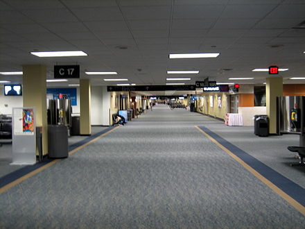 The interior of Concourse C, where United's hub operation is based - Washington Dulles International Airport