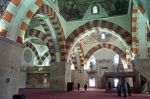 Old Mosque, Edirne - The interior of the mosque.