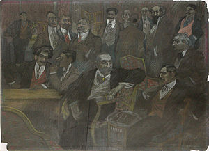 Constantin C. Arion - Arion (seated at center) and Romanian journalists. Conté drawing by Ion Theodorescu-Sion, ca. 1910