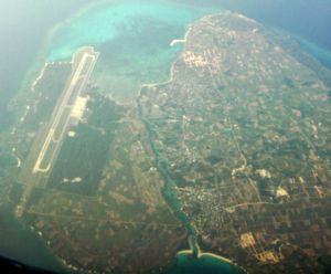 伊良部島(右)及下地島(左)的航拍照片。