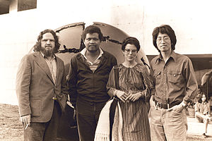 Ishmael Reed - Bob Callahan, Ishmael Reed, Ishmael's wife Carla Blank, Shawn Wong in 1975. photo by Nancy Wong.
