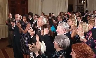 Jewish American Heritage Month - Guests at 2010 White House reception for JAHM welcome Jewish baseball hero Sandy Koufax (center left), and entertainer/activist Theodore Bikel (center right).