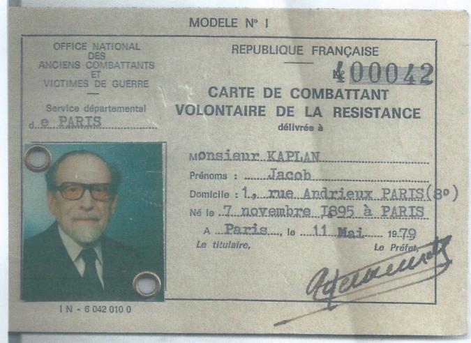 Fichier jacob kaplan carte de combattant volontaire de la - L office national des anciens combattants et victimes de guerre ...