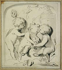 Design for a door ornament with putti