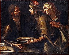 Jacob offers a dish of lentels to Esau for the birthright
