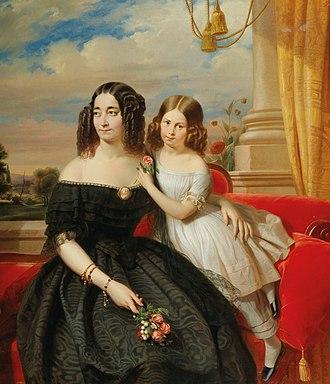 Jacobus Josephus Eeckhout - Madame Chesnaye and her Daughter