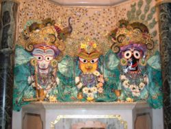 Jagannath, Baladev and Subadra in Radhadesh.jpg