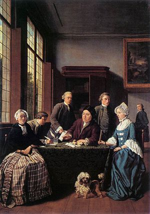 Prenuptial agreement - The Marriage Contract by Flemish artist Jan Josef Horemans the Younger c. 1768