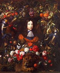 Flower garland with portrait of William III of Orange, aged 10