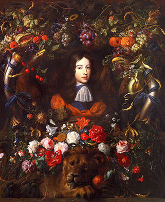 Jan Davidsz. de Heem - Portrait of William III of England, aged 10, in a flower garland, with House of Orange symbols, a war booty taken to France 1795, where it remained.
