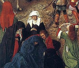 Christ and the Virgin Diptych - Jan van Eyck, Crucifixion and Last Judgement diptych, c 1440. Women swoon in mourning at the foot of the cross. Mary is shown in the blue gown, swooning in dramatic grief and despair, supported John the Evangelist.