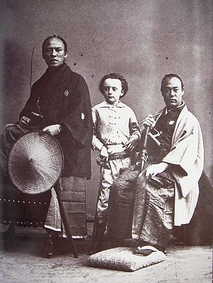 Second Japanese Embassy to Europe (1863) - The son of Nadar, photographed with members of the Ikeda Mission in 1863.