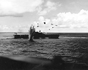 Japanese aircraft carrier Jun'yō - A bomb from a Japanese aircraft narrowly missing Enterprise during the Battle of the Santa Cruz Islands