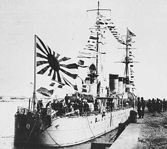 Hankou incident - Image: Japanese cruiser Tenryu docked at Shanghai Feb 1934
