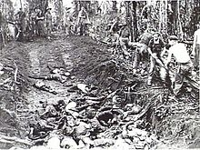 Soldiers burying dead in a large pit