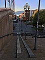 Jernbanegata with view towards Havmannen, gågate i Mo i Rana, Norway 2017-10-09 stairs, lamp posts, street lights.jpg