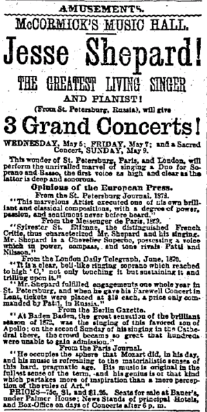 Francis Grierson - 1875 advertisement for Jesse Shepard concert in Chicago