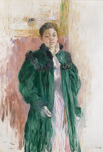 Berthe Morisot - Jeune Fille au Manteau Vert by Berthe Morisot. Oil on canvas, c. 1894