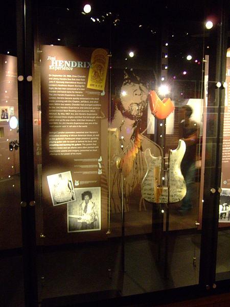 File:Jimi Hendrix, smashing guitar pieces (rear), EMP Museum.jpg