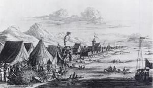 Paravar - Pearl Fishery at Tuticorin camp, 1662, by Johan Nieuhof.