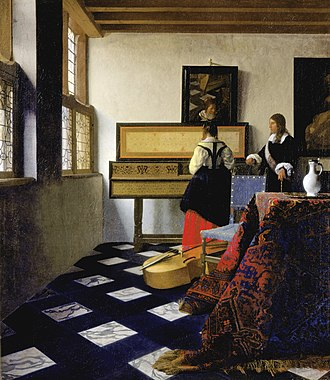 Iconclass - Image: Johannes Vermeer Lady at the Virginal with a Gentleman, 'The Music Lesson' Google Art Project