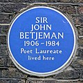 John Betjeman blue plaque in Cloth Court, City of London, England.jpg