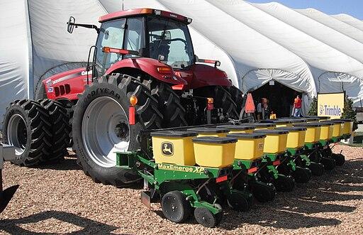John Deere Planter with Case IH Tractor