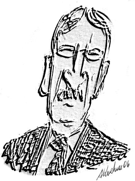 Caricature of Dewey by André Koehne, 2006