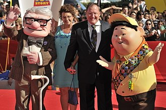 Pixar - John Lasseter appears with characters from Up at the 2009 Venice Film Festival.
