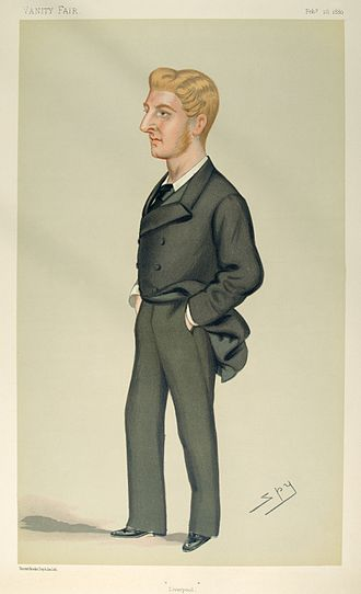 "John Ramsay, 13th Earl of Dalhousie - ""Liverpool"". Caricature by Spy published in Vanity Fair in 1880."
