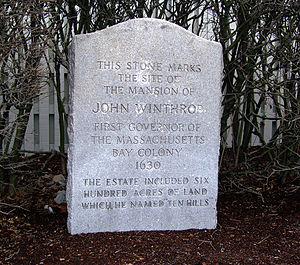 Ten Hills, Somerville, Massachusetts - Historic marker at the intersection of Gov. Winthrop Road and Shore Drive, marking the site of John Winthrop's home in Ten Hills