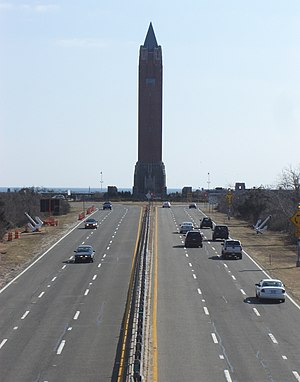 Jones Beach State Park - Wantagh Parkway approach to Jones Beach. Centered is the Jones Beach Water Tower.