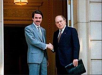 José María Aznar - Aznar receiving Jordi Pujol at La Moncloa in 1996.