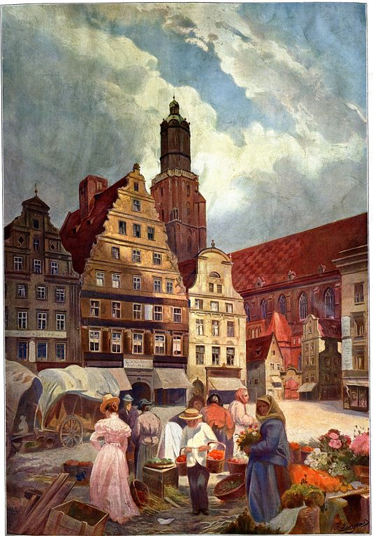 Eglise Saint Elisabeth de Wroclaw sur une toile de Joseph Langer.