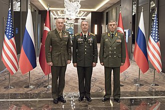 Valery Gerasimov - Gerasimov, Joseph Dunford and Hulusi Akar are discussing their nations' operations in northern Syria, 6 March 2017