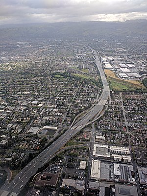Interstate 280 (California) - Interstate 280 aerial view from southwest of the US 101/I-680 interchange