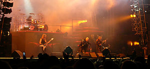 Heavy metal band Judas Priest performing at th...