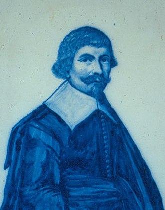 Robert Junius - Portrait of Junius by Junius on Delftware