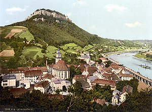 the city of Königstein with Festung Königstein...