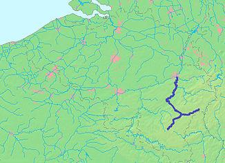 Plasseringen av Ourthe i Belgia