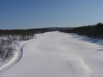 Kalix River - Frozen Kalix river at Kalixforsbron, March 2008