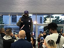 Kanye West speaking at the Georgetown Apple Store in 2018
