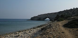 Gavdos - Kap Trypiti, the most southern point of Europe. The sculpture of the oversized chair can be seen.