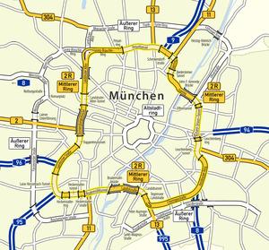 Bundesstraße 2 R - Image: Karte Mittlerer Ring München