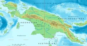 Topographische Karte von Neuguinea